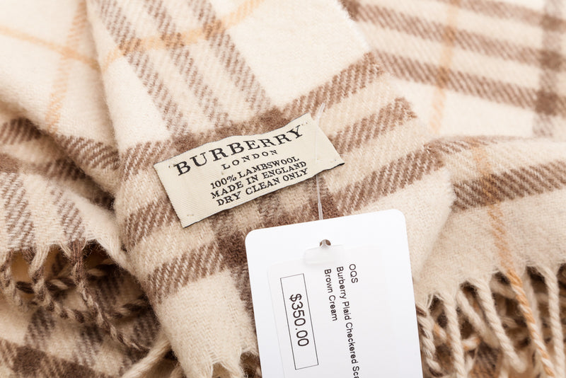 Burberry Cream Lambswool Check Fringe Scarf
