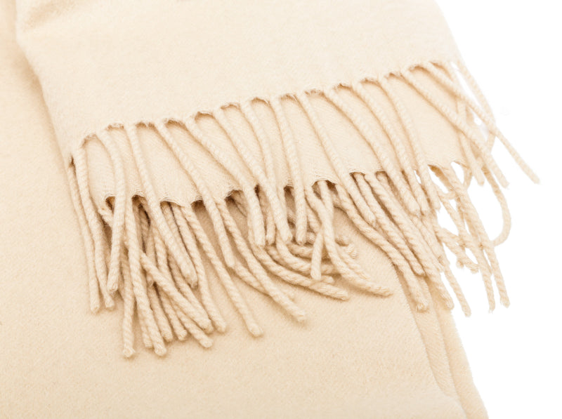 Louis Vuitton Cream Cashmere Fringe Scarf