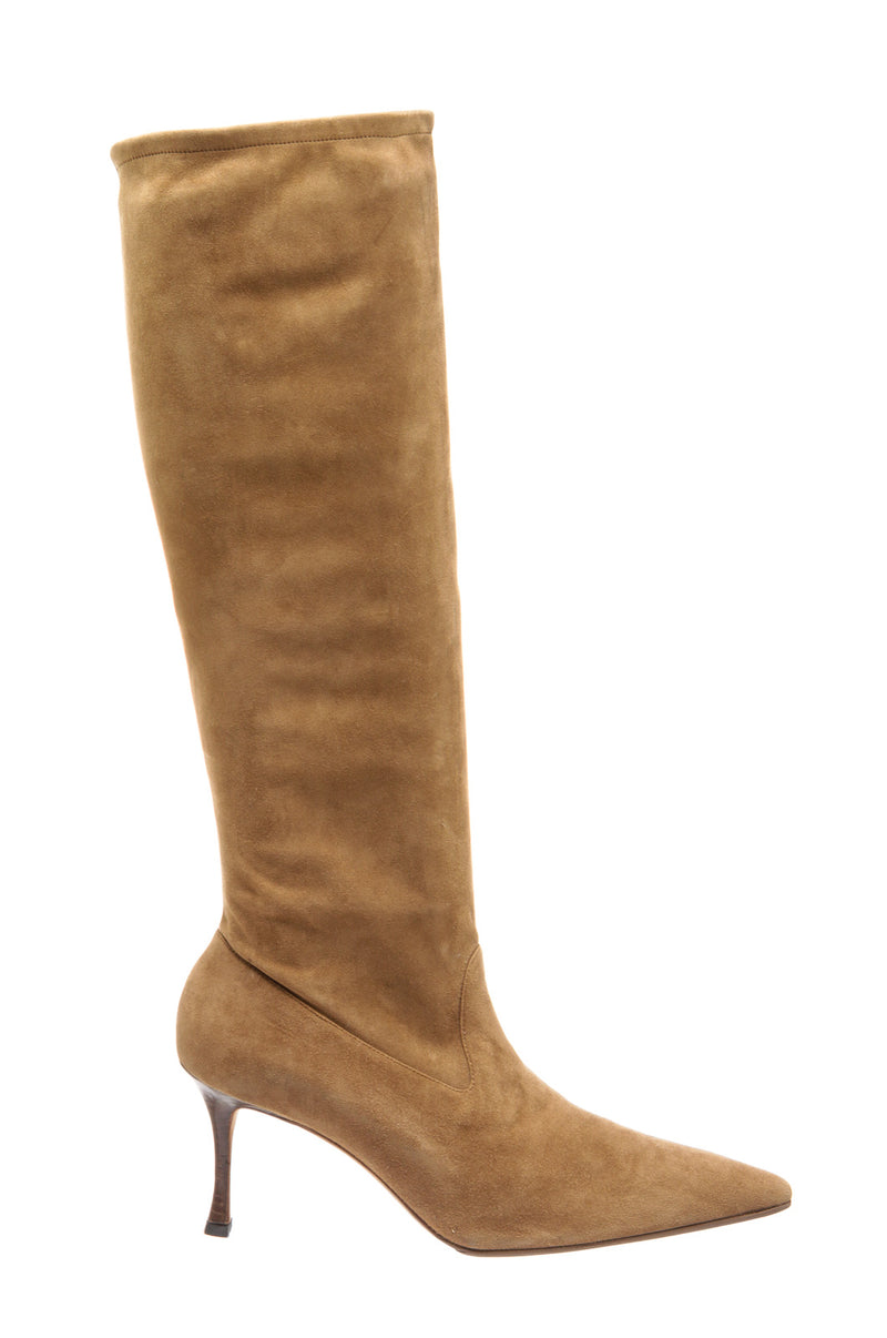 Manolo Blahnik Tan Suede Knee High Boots (Size 40)