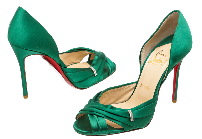 Christian Louboutin Green Satin Tres Oprah 100 with Strass Pump (Size 36.5)