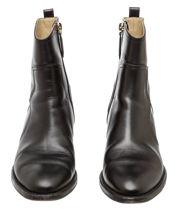 Chanel Black Leather Ankle Boots (Size 37.5)