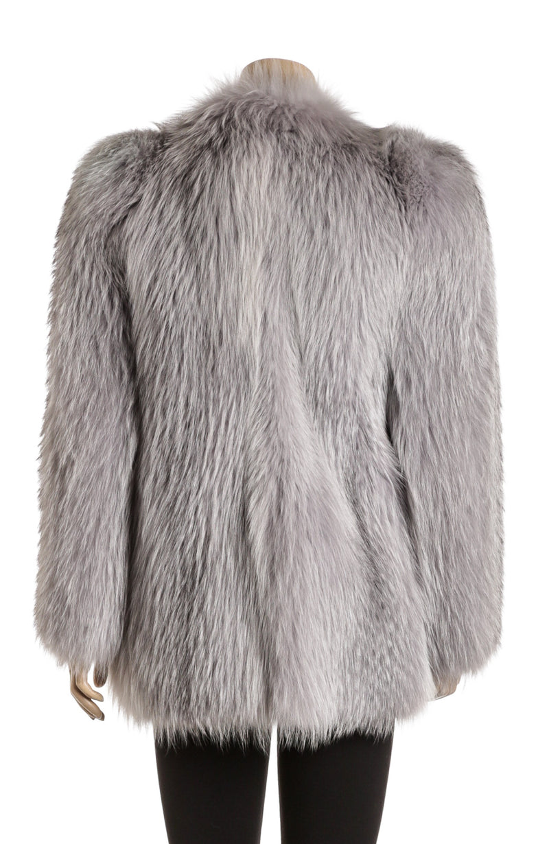Prada Dyed Blue Fox Fur Coat (Size 42)