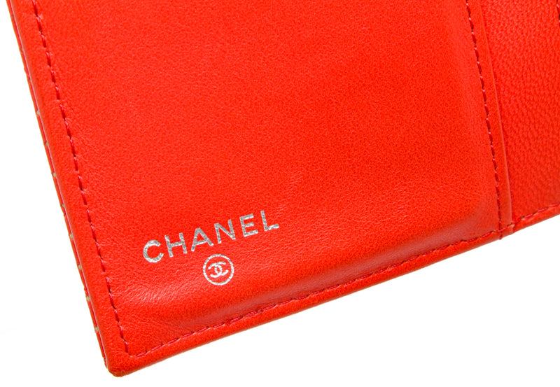 Chanel Red Leather Perforated Quilted Flap Wallet