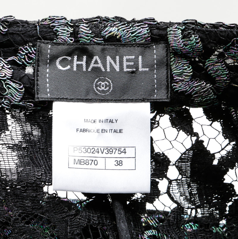 Chanel Black Iridescent Lace Culotte Pants (Size 38)