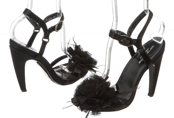 Sergio Rossi Black Satin Ankle-Wrap Sandals (Size 38)