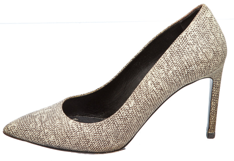 Hugo Boss Cream Leather Lizard Skin Inspired Pepita Z Pumps (Size 37.5)