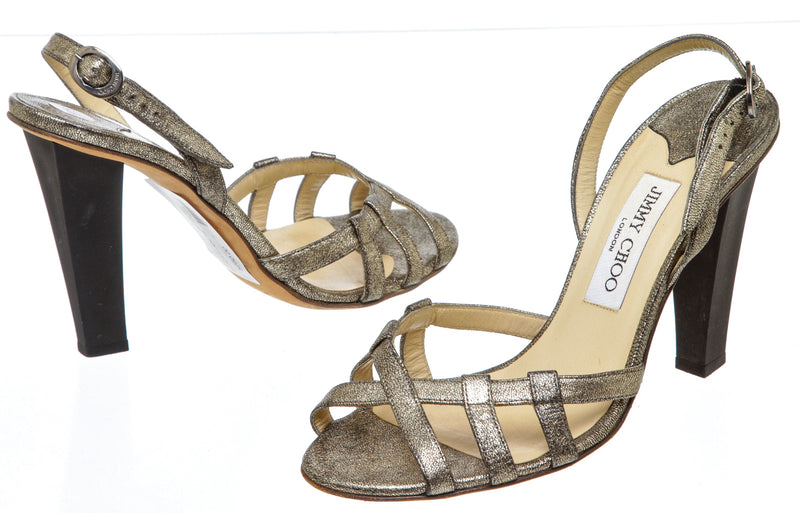 Jimmy Choo Gold Leather Metallic Slingback Sandals (Size 38.5)