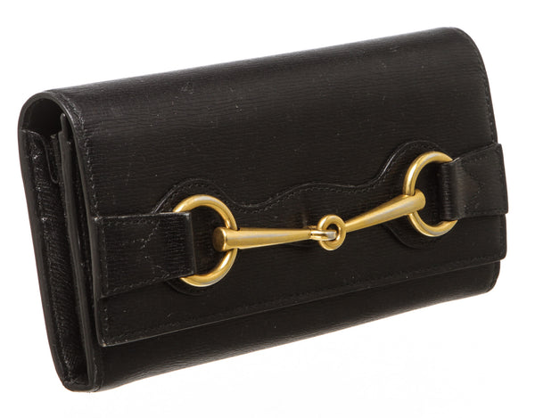 Gucci Black Leather Horsebit Wallet