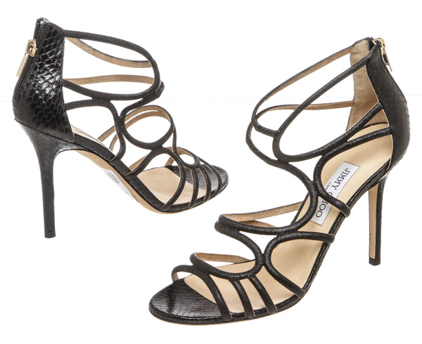 Jimmy Choo Black Leather and Snakeskin Caged Sandals (Size 40)