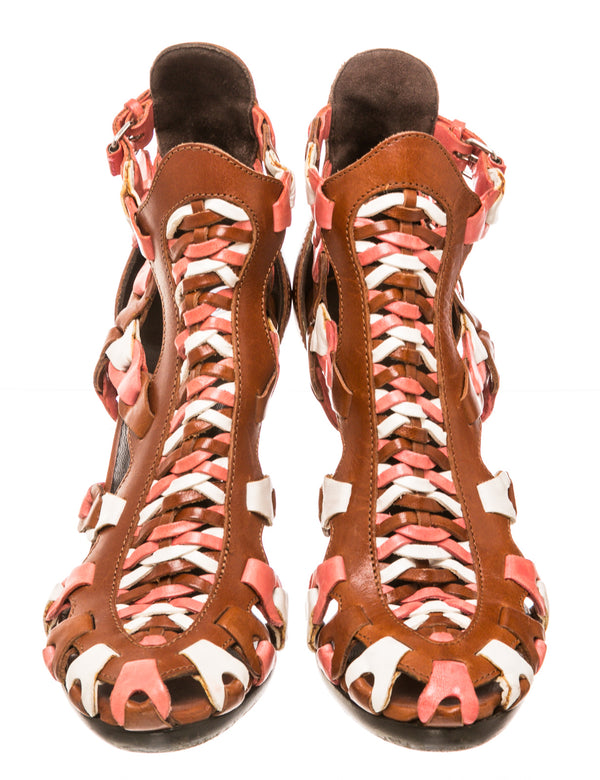 Balenciaga Brown Multicolor Leather Caged Sandals (Size 37)