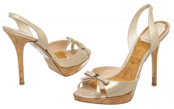 Christian Dior Champagne Leather 'Starlet' Sandals (Size 9)