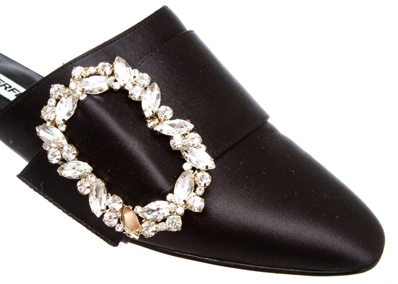 Karl Lagerfeld Black Satin Jewel Embellished Mules (Size 6)