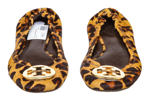 Tory Burch Brown and Tan Leopard Calf Hair Reva Ballet Flats (Size 8)