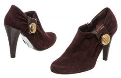 Gucci Plum Suede Leather Crest Ankle Boots (Size 6.5)