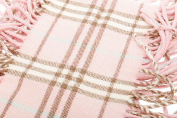 Burberry Pink Cashmere Check Fringe Scarf