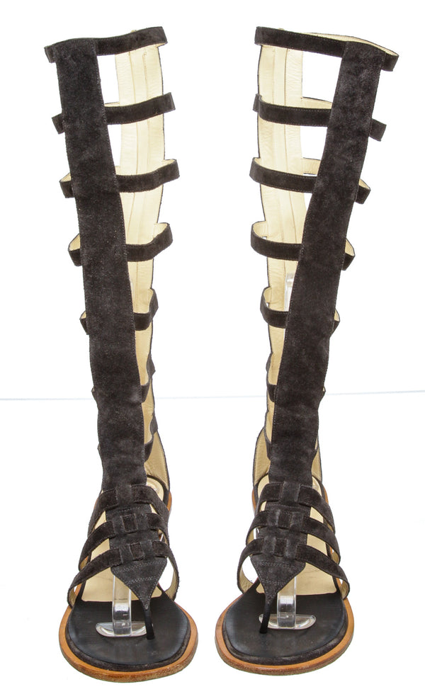 Chanel Gray Suede Gladiator Sandals (Size 38)