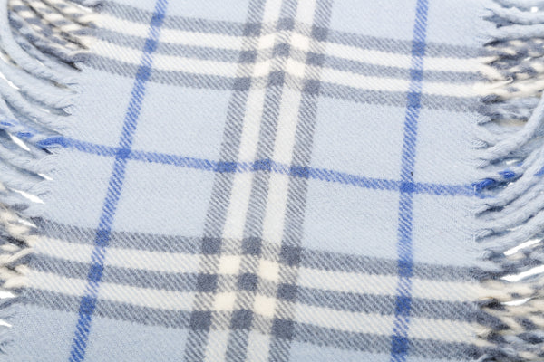 Burberry Blue Cashmere Check Fringe Scarf