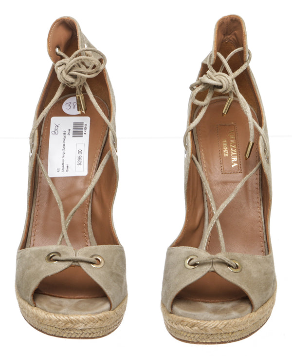 Aquazzura Khaki Green 'Tango' Wedge Espadrille Sandals (Size 38.5)
