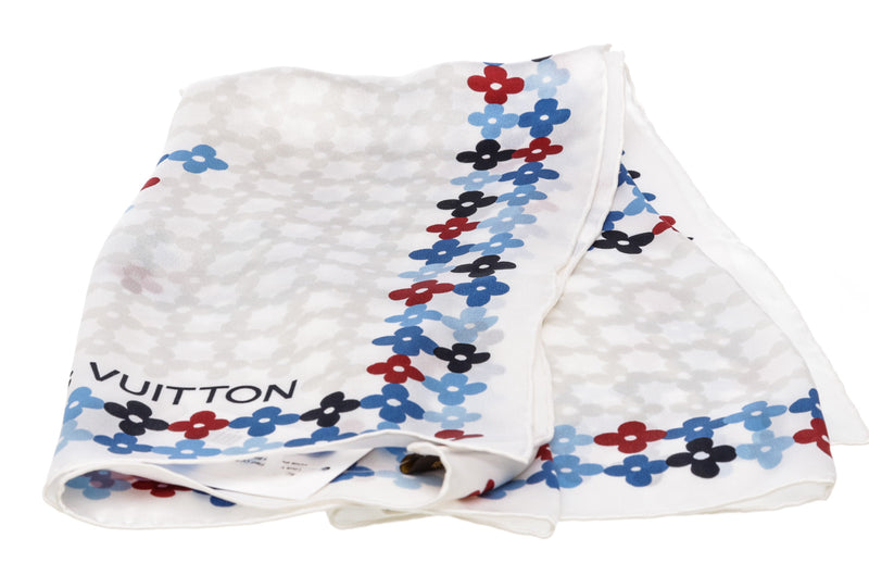Louis Vuitton White Silk Floral Scarf