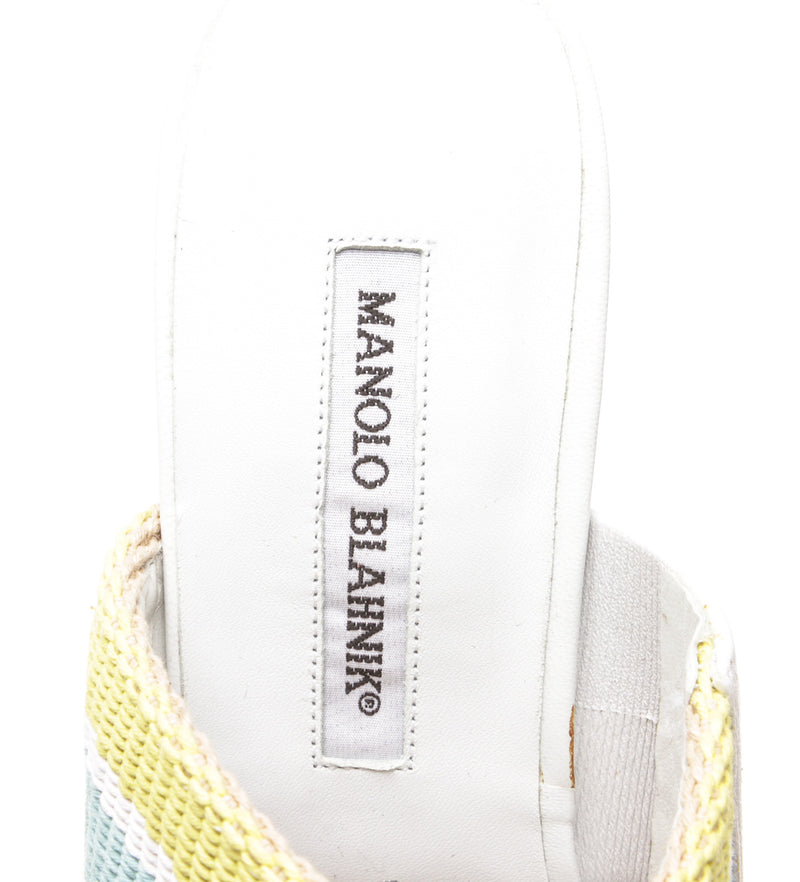 Manolo Blahnik White Leather Toe Ring Sandals (Size 39)