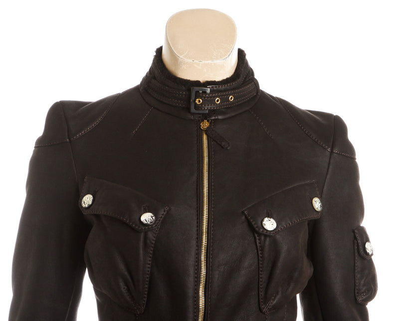 Roberto Cavalli Brown Leather Shearling Lined Jacket (Size 38)