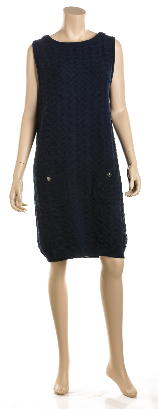Chanel Blue Cotton Knit Sleeveless Shift Dress (Size 42)