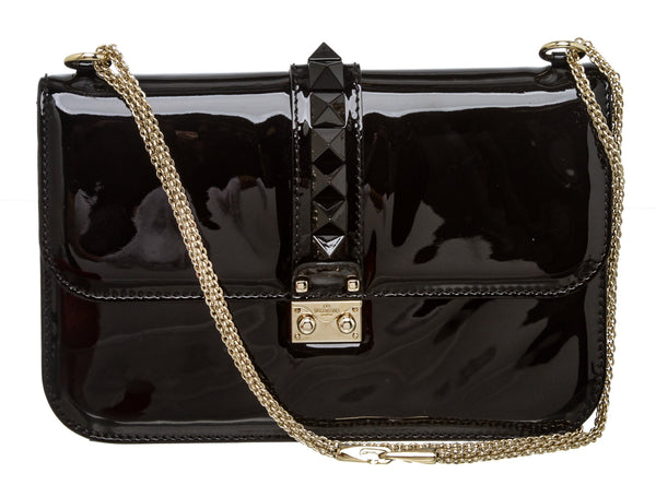 Valentino Black Patent Leather Glam Lock Flap Bag
