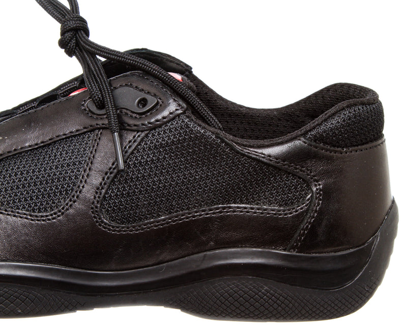 Prada Black Leather and Mesh Women's Sneaker (Size 38.5)