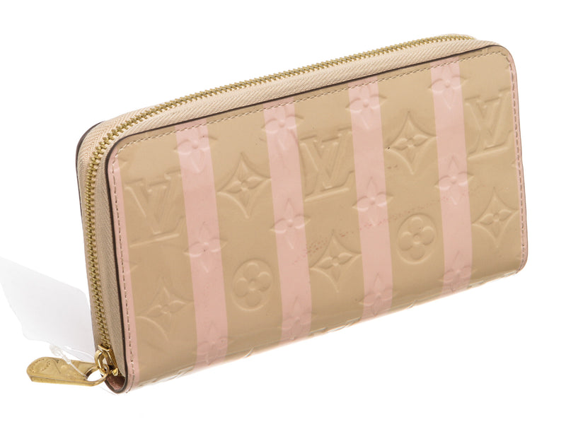 Louis Vuitton Tan and Pink Vernis Rayures Dune Zippy Wallet