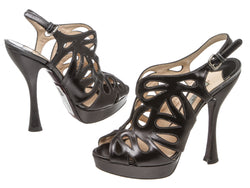 Prada Dark Gray Leather Cutout Caged Sandals (Size 38.5)