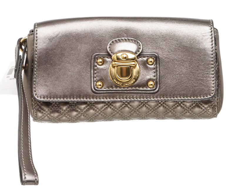 Marc Jacobs Pewter Quilted Leather Wristlet Clutch