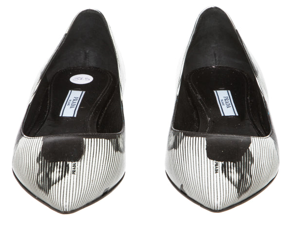 Prada Black and White Graphic Flats (Size 38.5)