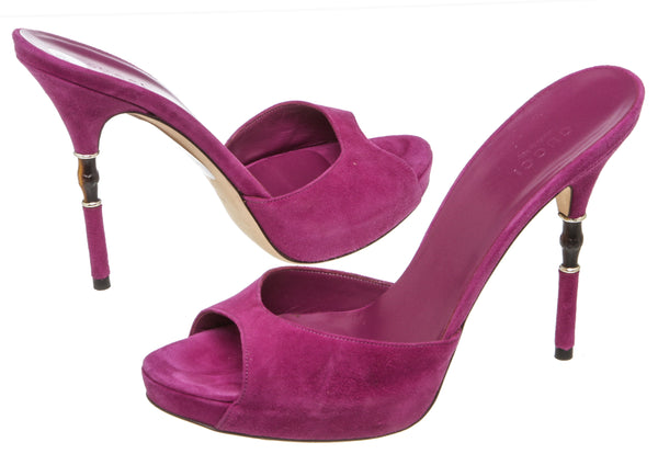 Gucci Magenta Suede Open-Toe Sandals (Size 38.5)