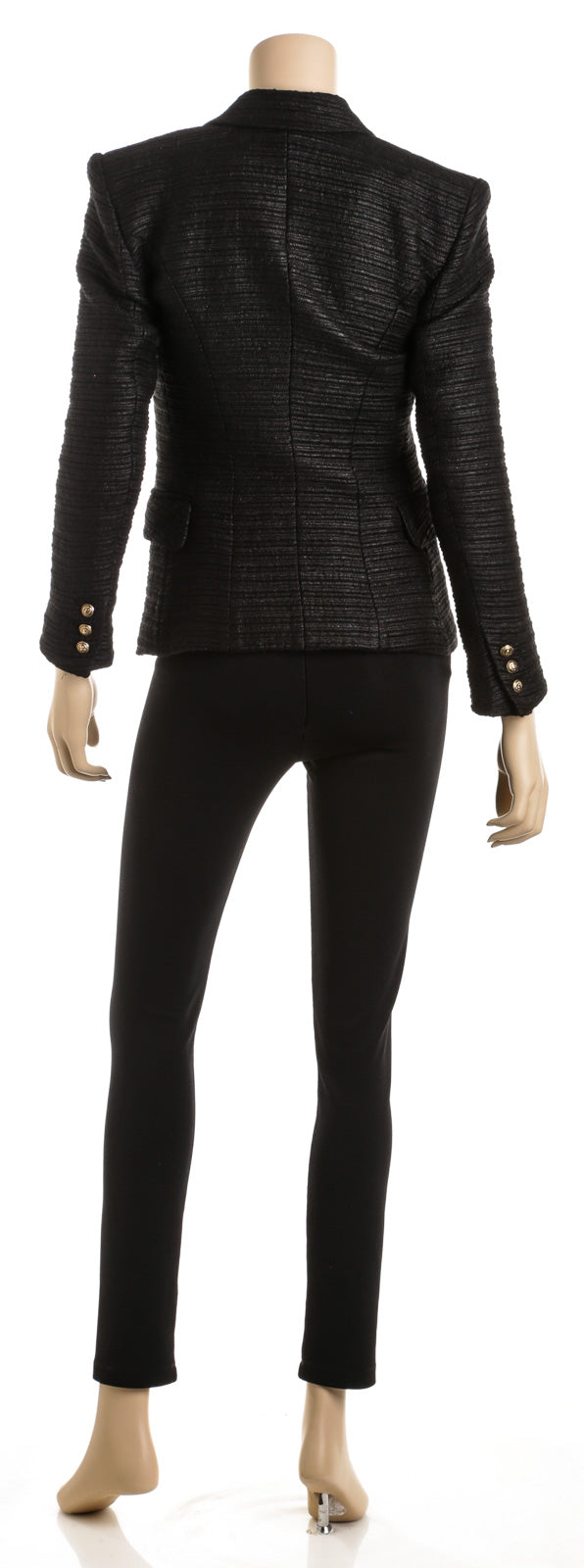 Balmain Black Wool Blend Metallic Tweed Blazer (Size 38)