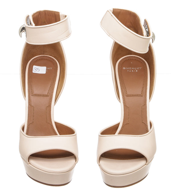 Givenchy Nude Leather 'Plara' Shark-Lock Sandals (Size 35)