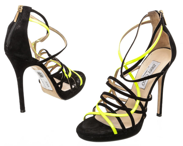 Jimmy Choo Black and Neon Leather 'Myth' Strappy Sandals (Size 38)