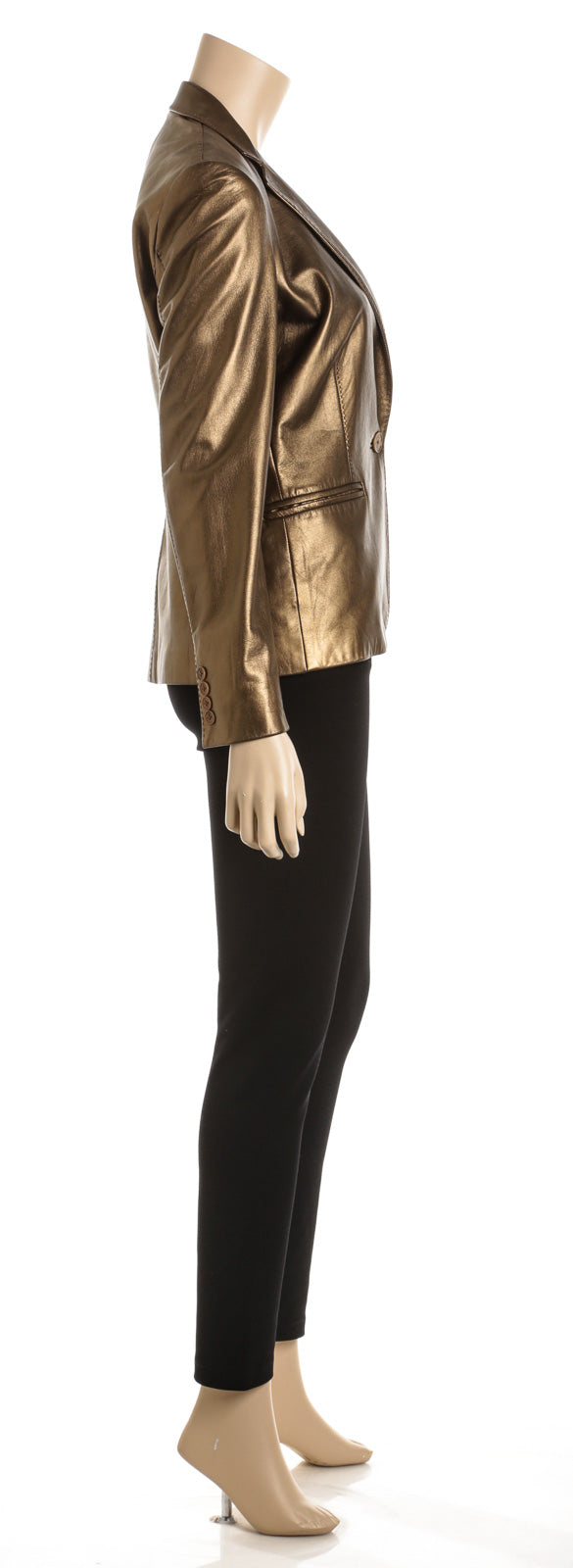 Ralph Lauren Purple Label Metallic Gold Leather Blazer (Size 6)