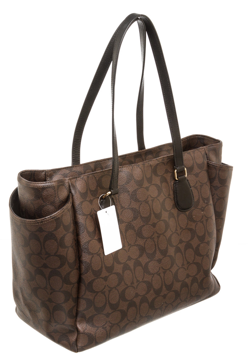 Coach Mahogany Monogram Coated Canvas Tote Bag with Strap