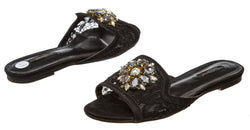 Dolce & Gabbana Black Lace Bianca Crystal Slippers (Size 37)
