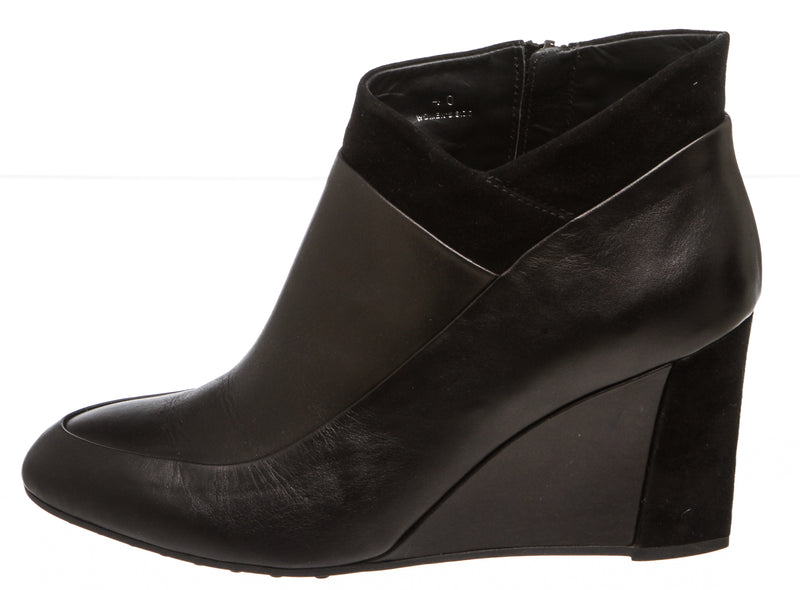 Tod's Black Leather Wedge Ankle Boots (Size 40)