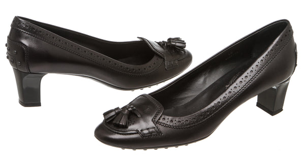 Tod's Black Leather Tassel Pump (Size 40)
