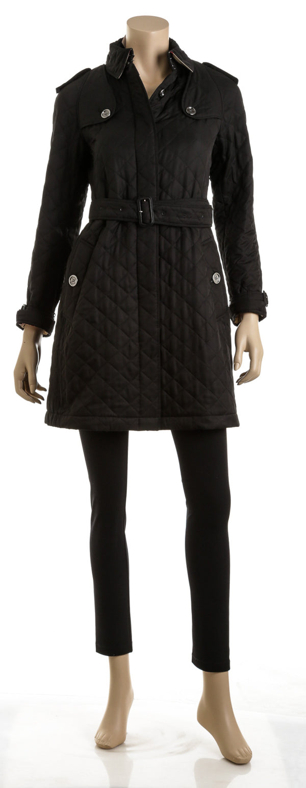 Burberry Brit Black Poly Diamond Quilted Trench Coat (S)