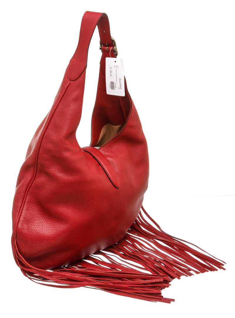 Gucci Red Leather Nouveau Jackie Fringe Hobo Bag