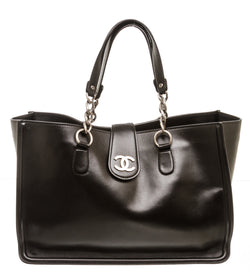 Chanel Black Calfskin Leather Tote Bag