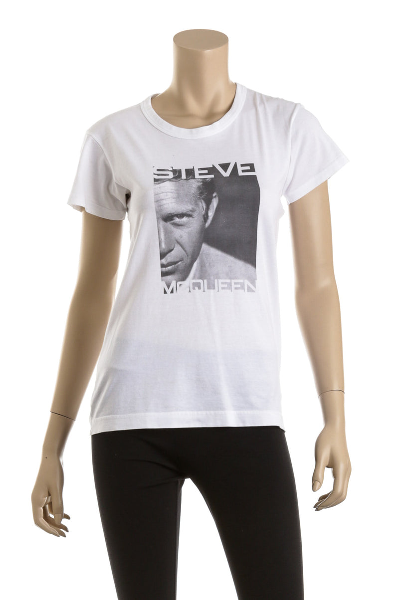 Dolce and Gabbana White Cotton Steve McQueen T-Shirt (Size 38)