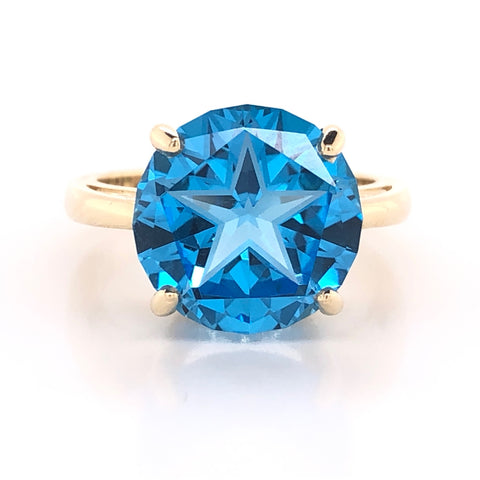 lone star cut blue topaz fashion ring yellow gold austin texas atx jewelry