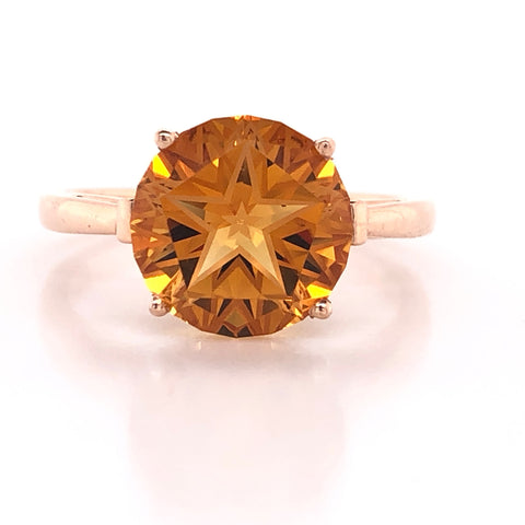 lone star cut burnt orange citrine rose gold fashion ring austin texas atx ut hook em horns jewelry