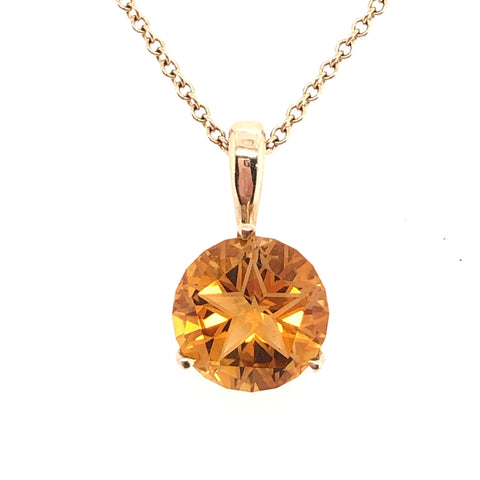 lone star cut burnt orange citrine gold necklace austin texas atx jewelry hook em horns ut
