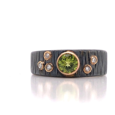 arizona peridot diamond bezel oxidized silver yellow gold fashion ring handmade austin texas atx local