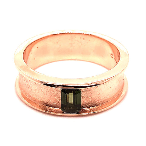 rose gold bar set green sapphire custom men's gents band